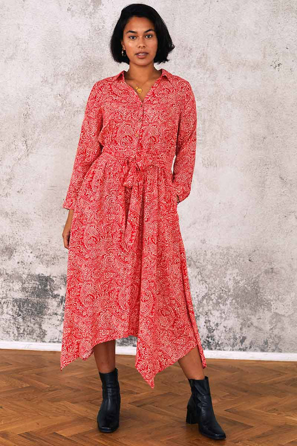 Leila Print Shirt Midi Dress