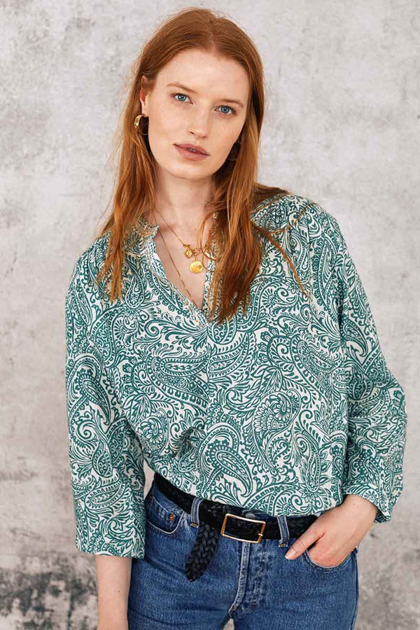 Leila Green Print Embroidered Top