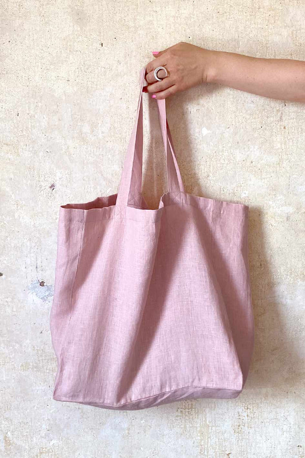 Pink Linen Shopper Bag