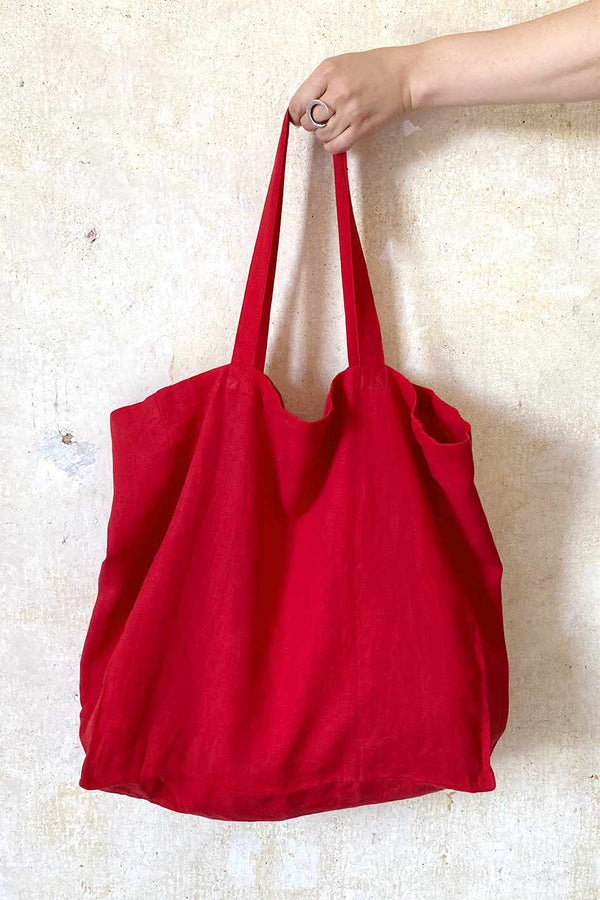 Red Linen Shopper Bag