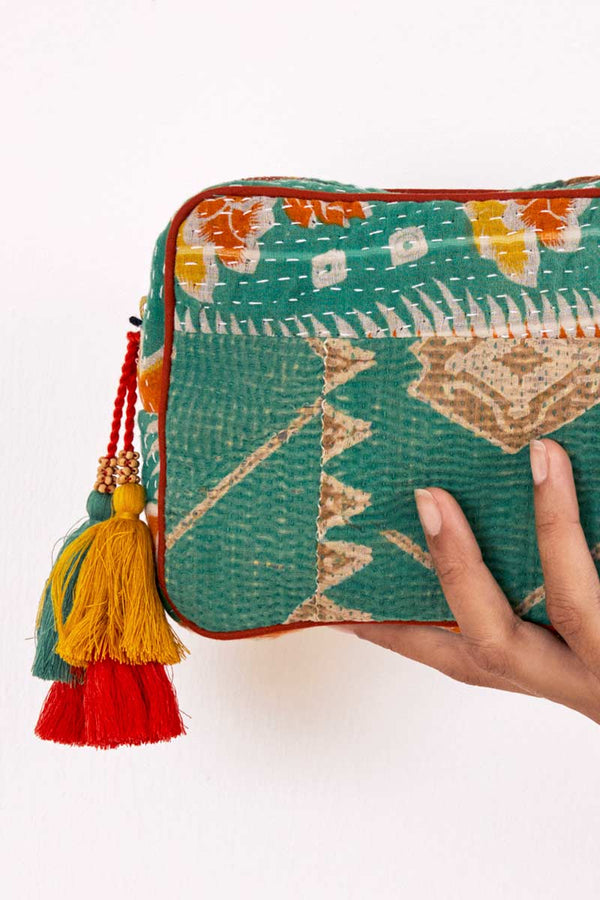 Limited Edition Green Recycled Sari Make Up Bag
