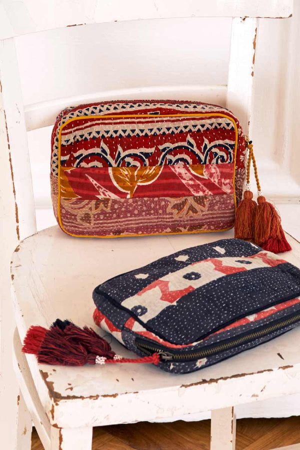 Limited Edition Red Recycled Sari Make Up Bag