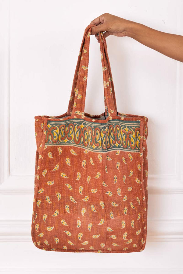 Limited Edition Orange Recycled Sari Tote Bag