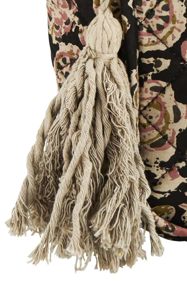 Black Printed Wash Bag with Tassels
