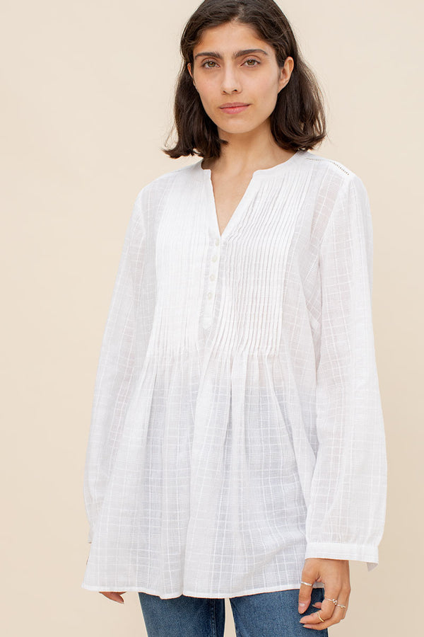 Maisie White Pintuck Textured Shirt