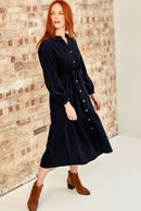 Navy Organic Corduroy Dress