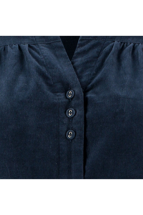 Navy Organic Corduroy Collar Top