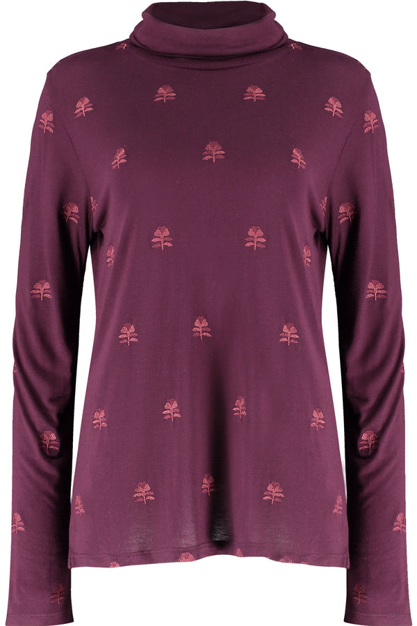 Orla Jersey Embroidered Polo Neck Top