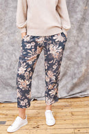 Ophelia Grey Print Silk Trouser