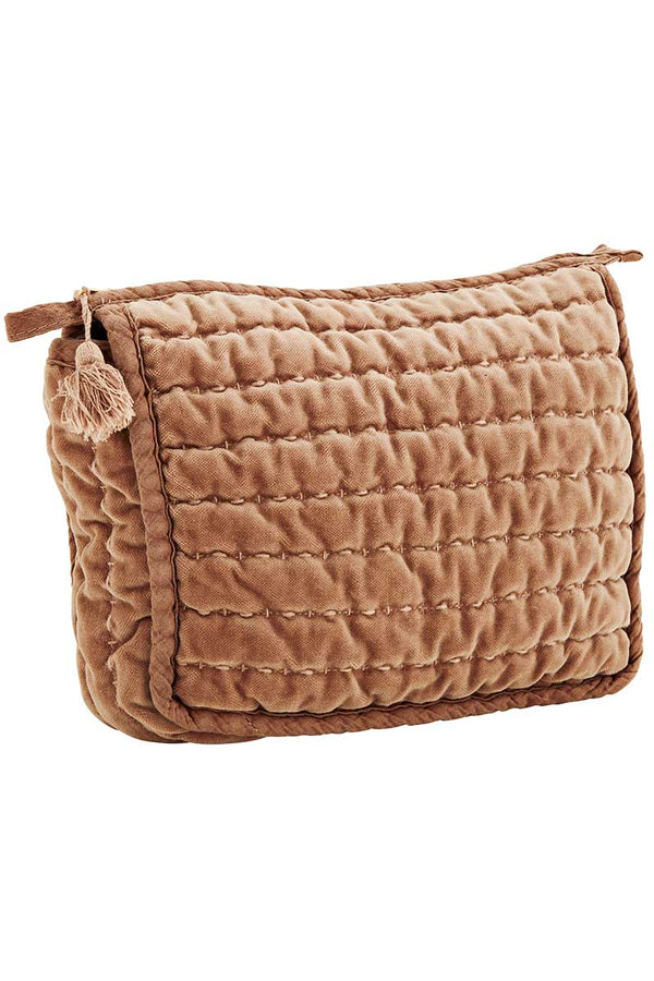 Dusty Rose Quilted Velvet Makeup Bag
