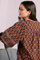 Prisha Black Organic Cotton Print Top