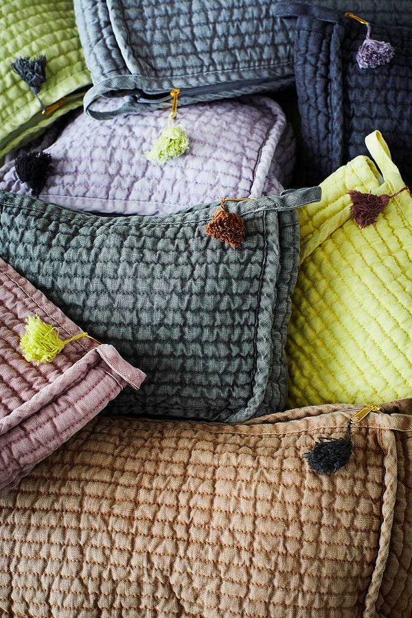 Quilted Linen Wash Bag