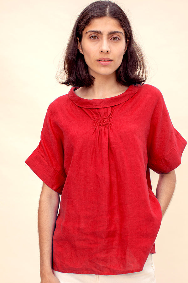 Red Linen Bardot Top
