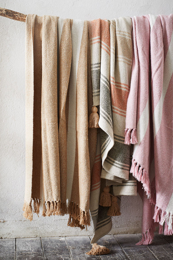 Striped Woven Throw with Tassels