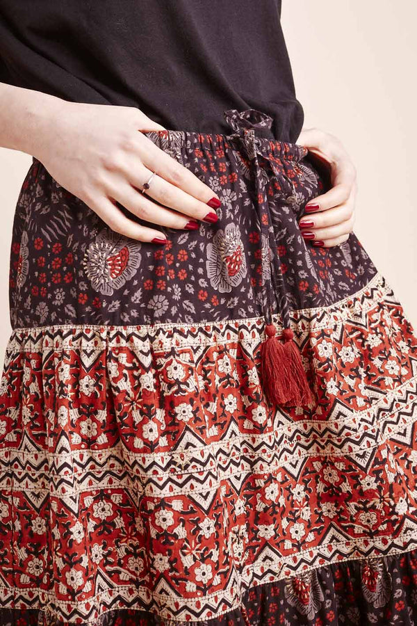 Willow Woodblock Midi Skirt