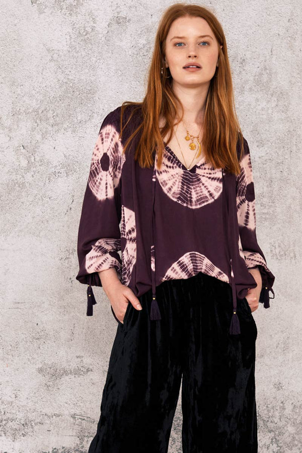 Wren Purple Tie-Dye Top