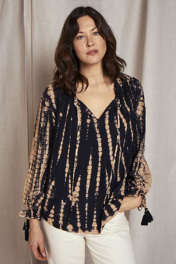 Wren Black & Tan Tie-Dye Blouse