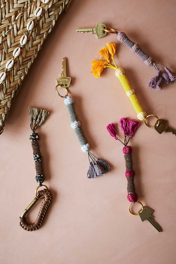 Yellow Beaded Key Chain with Tassels