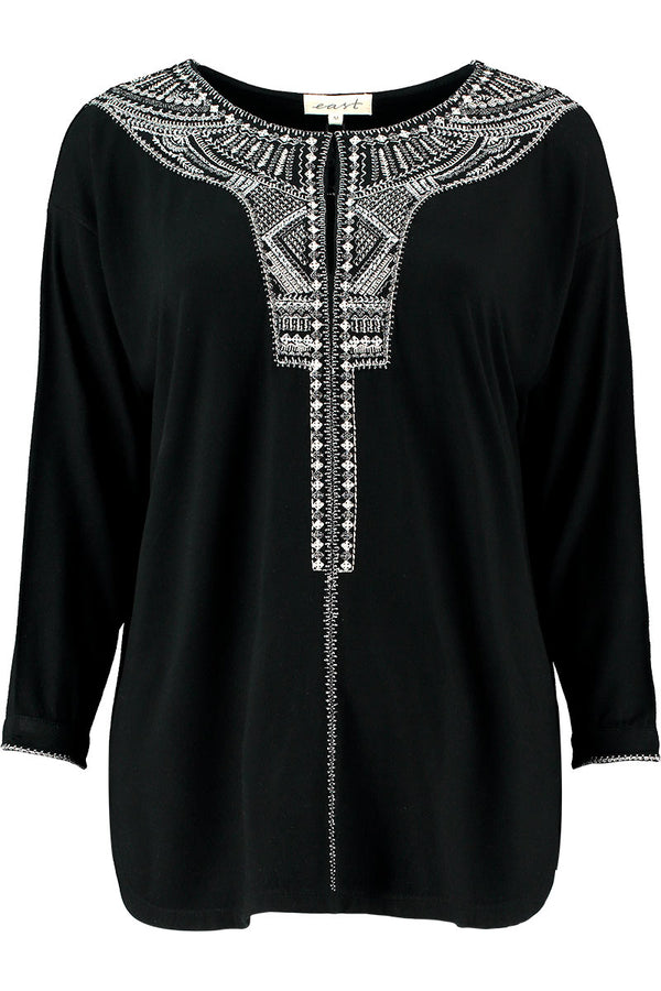 Zahra Embroidered Black Top
