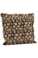 Black Printed Cushion Cover with Fringes