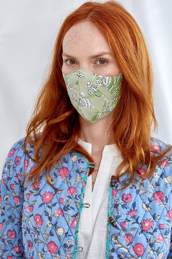 Green Patchwork Face Mask