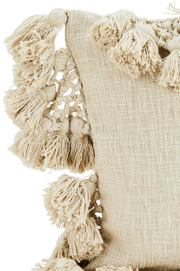 Ivory Cushion Cover with Tassels