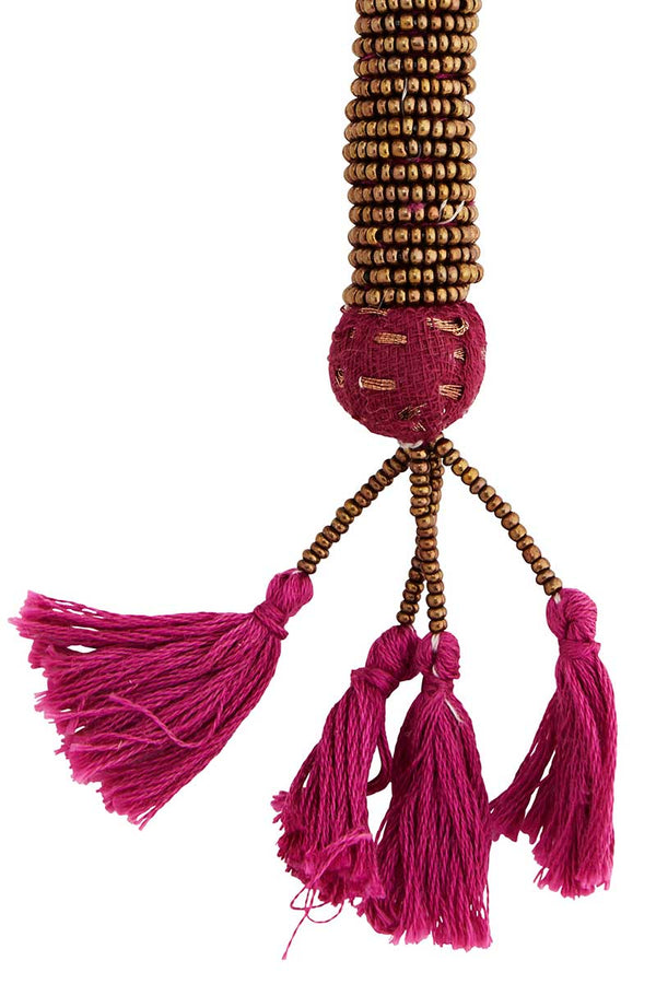 Pink Beaded Key Chain with Tassels