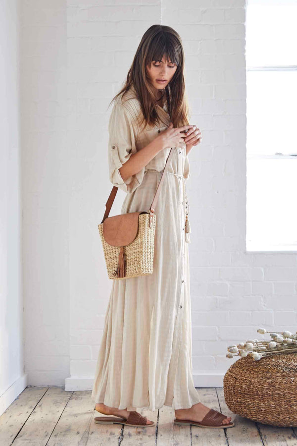 Evie Camel Maxi Shirt Dress