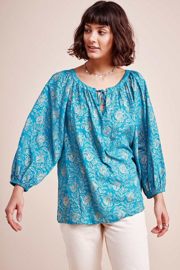 Farrah Teal Foil Print Cotton Blouse