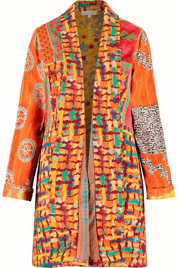 Limited Edition Orange Upcycled Sari Jacket