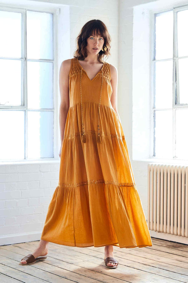 Harper Ochre Organic Cotton Maxi Dress