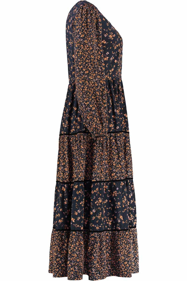 Hazel Black Print Maxi Dress