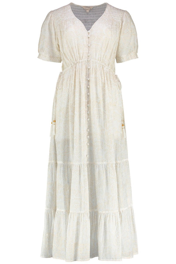 Isla White Organic Cotton Print Dress