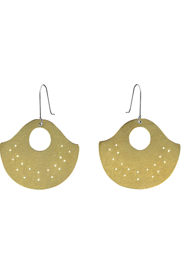 Inca Gold Brass Statement Earring