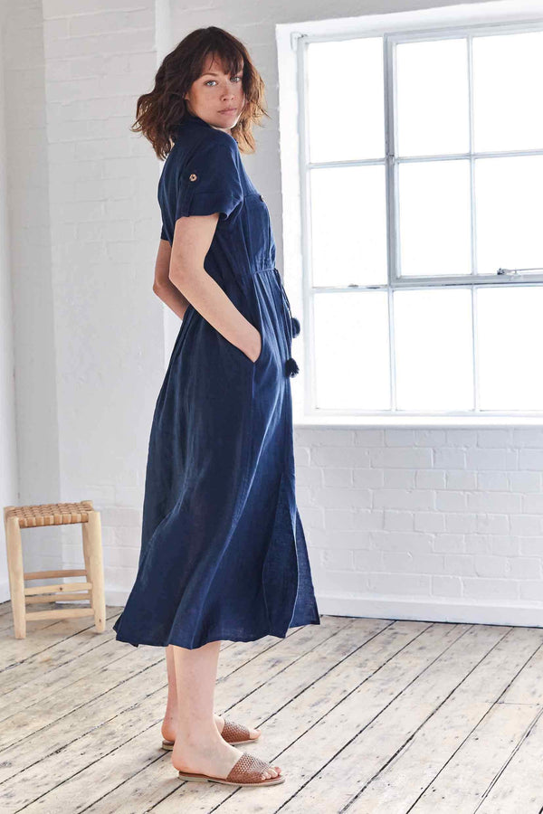 Jen Navy Linen Midi Shirt Dress
