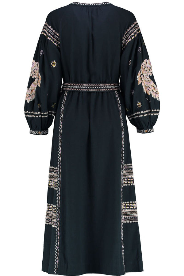 Jasmin Charcoal Embroidered Cotton Dress