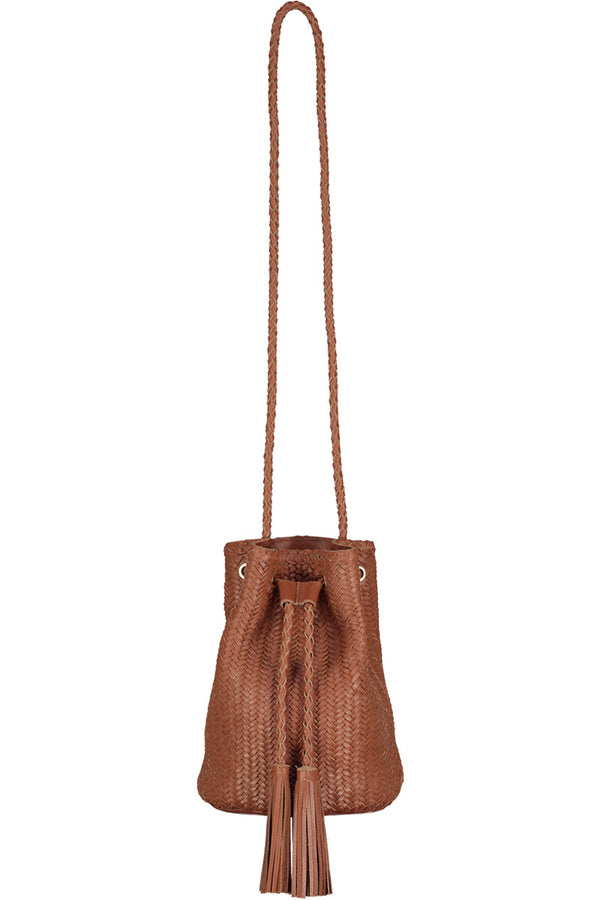 Jessie Woven Leather Bucket Bag