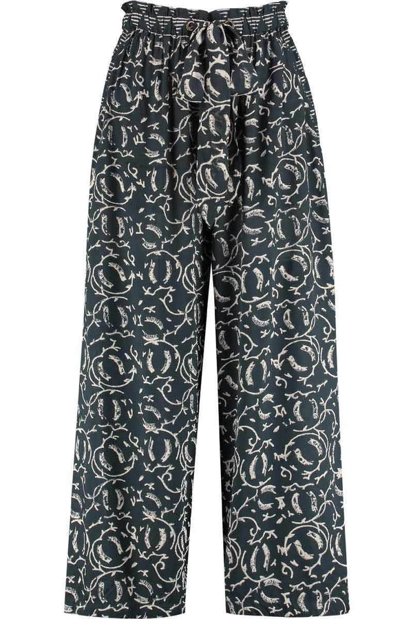 Kiran Charcoal Woodblock Cropped Trouser