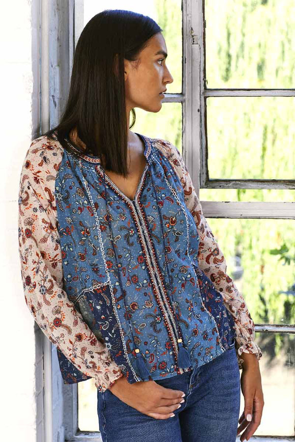Lilian Patch Print Embroidered Blouse