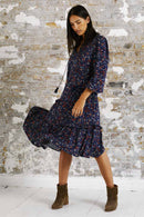 Lilian Navy Print Midi Dress
