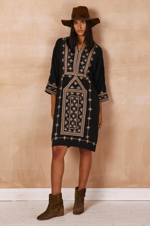 Misha Charcoal Embroidered Tunic Dress
