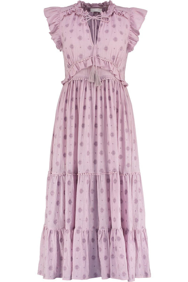 Madeline Lilac Organic Cotton Tiered Dress