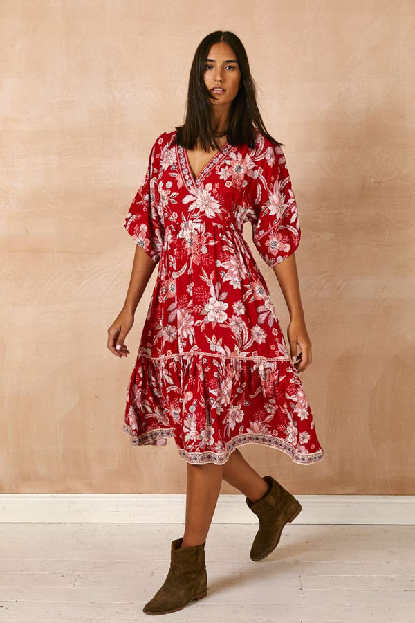 Ophelia Red Print Midi Dress