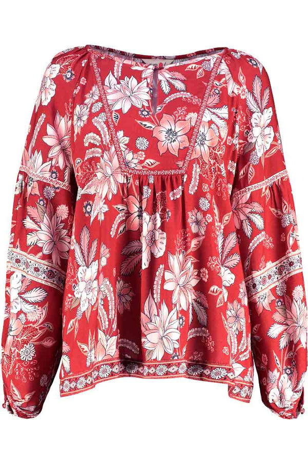 Ophelia Red Print Blouse