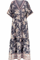 Ophelia Grey Print Silk Maxi Dress.
