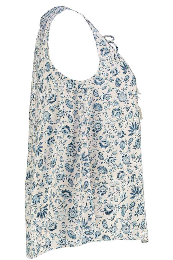 Poppy Blue & White Floral Print Top