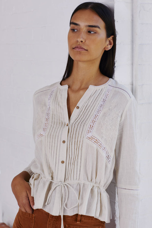 Posy Natural Embroidered Blouse