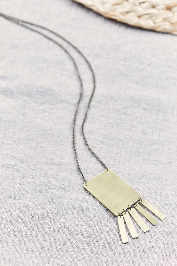 Fringe Gold Brass Rectangle Necklace