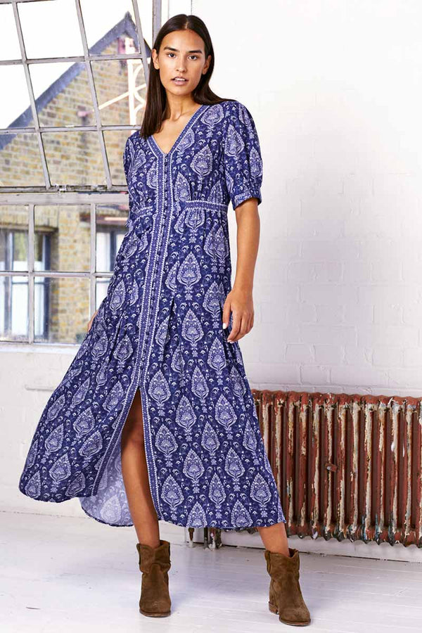 Serafina Navy Print Tea Maxi Dress
