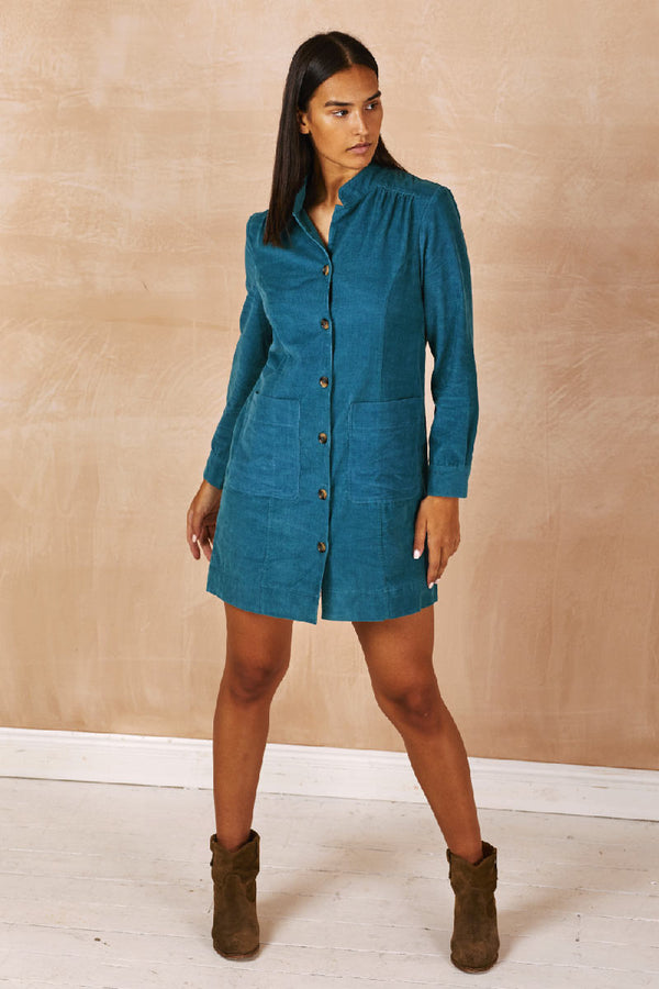 Tallie Teal Cord Dress